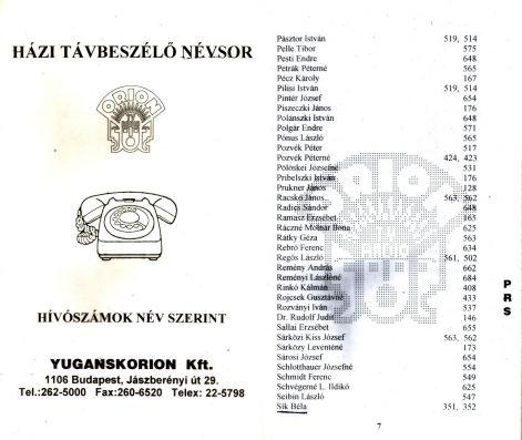 YUGANSKORION HÁZI TELEFONKÖNYV
